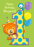 Big 1 with Cute Bear, Bird and Balloons 5x7 Folded Card