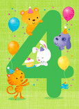 Big 4 with Cute Animals and Balloons 5x7 Folded Card