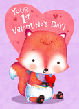 1st Valentines Day - Baby Fox 5x7 Folded Card