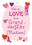 Granddaughter Valentine with Hearts 5x7 Folded Card