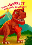 Valentine's Dinosaur 5x7 Folded Card