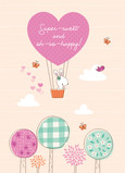 Cute Bunny in Hot-air Balloon 5x7 Folded Card