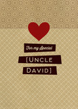 Kraft Paper Patterns with Heart - Uncle 5x7 Folded Card