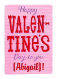 Valentine's Day Lettering with Name 5x7 Folded Card
