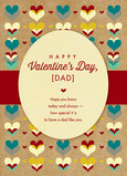 Dad Valentine with Heart Pattern and Band 5x7 Folded Card