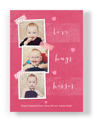 Love Hugs Kisses - 3 Photos 5x7 Flat Card