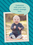 Photo on Teal Stripes 5x7 Folded Card