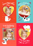 School Valentine Kittens and Puppies 5x7 Flat Card