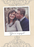 Engagement Instant-photo with Scrollwork 5x7 Folded Card