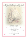 Baby Girl Christening Dress 5x7 Folded Card