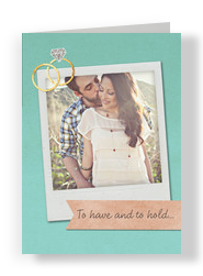 Engagement Instant-photo with Rings 5x7 Folded Card