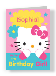 Hello Kitty Birthday Girl 5x7 Folded Card