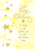 Christening - Gold and Yellow Stars 5x7 Folded Card