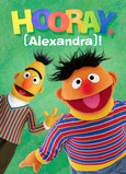 Bert & Ernie Birthday with Name 5x7 Folded Card
