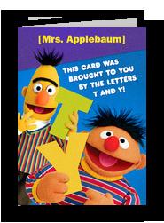 Bert & Ernie Thank You 5x7 Folded Card
