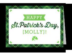 Happy St. Patrick's Day on Plaid 7x5 Folded Card