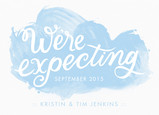 We're Expecting - Blue Watercolor 7x5 Flat Card