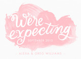 We're Expecting - Pink Watercolor 7x5 Flat Card