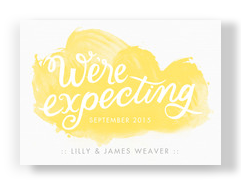 We're Expecting - Yellow Watercolor 7x5 Flat Card