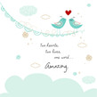 Loving Birds on Bunting 4.75x4.75 Folded Card