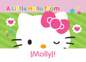 Hello Kitty Note Card with Stripes 5.25x3.75 Folded Card