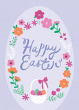 Lavender Egg with Script 5x7 Folded Card
