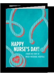 Nurse's Day Stethoscope 5x7 Folded Card
