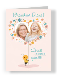 Heart-shaped Grandma Photo Frame 5x7 Folded Card