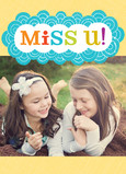 Colorful Miss U with Pattern 5x7 Folded Card