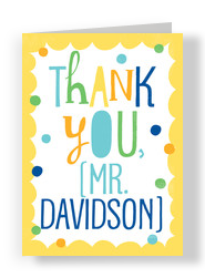 Colorful Thank You with Dots 5x7 Folded Card