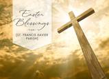 Easter Blessings Cross in Sunlight 7x5 Folded Card