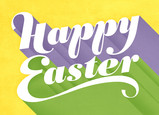 Pastel Happy Easter Lettering 7x5 Folded Card