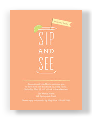 Sip and See Baby Invitation 5x7 Flat Card
