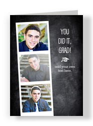 Grad Photo Strip on Chalkboard 5x7 Folded Card