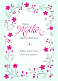 Teal and Pink Mother's Day Floral 5x7 Folded Card