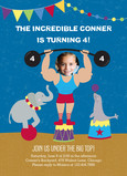 Circus Strong-man Birthday Invitation 5x7 Flat Card
