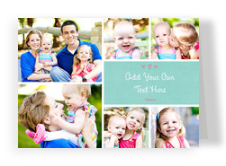 Multi-photo with Teal and Hearts 7x5 Folded Card