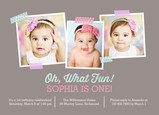 Oh What Fun! - 1st B-day  Blue and Pink 7x5 Flat Card