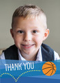 Bouncing Basketball Thank You 3.75x5.25 Folded Card