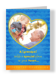 Grandpas Place In Your Heart 5x7 Folded Card
