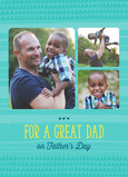 Dad's Day Photos with Teal Design 5x7 Folded Card