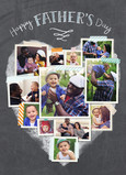 Heart-shaped Photo Collage on Chalkboard 5x7 Folded Card