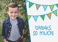Thanks with Blue and Green Bunting 5.25x3.75 Folded Card