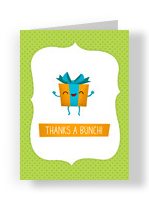 Smiling Present Thank You 3.75x5.25 Folded Card