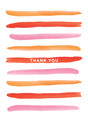 Thank You - Pink Paint Stripes 3.75x5.25 Folded Card