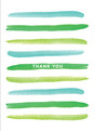 Thank You - Green Paint Stripes 3.75x5.25 Folded Card