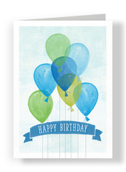Birthday Balloons with Banner 5x7 Folded Card