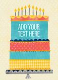 Patterned Birthday Cake 5x7 Folded Card