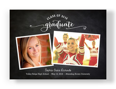 Chalkboard with Photos Grad Announcement 7x5 Flat Card