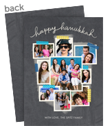 Hanukkah Photo Collage on Chalkboard 5x7 Flat Card